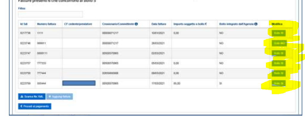 Modifica bollo fatture elettroniche elenco b