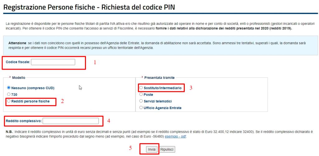 Inserimento dati per registrazione Fisconline