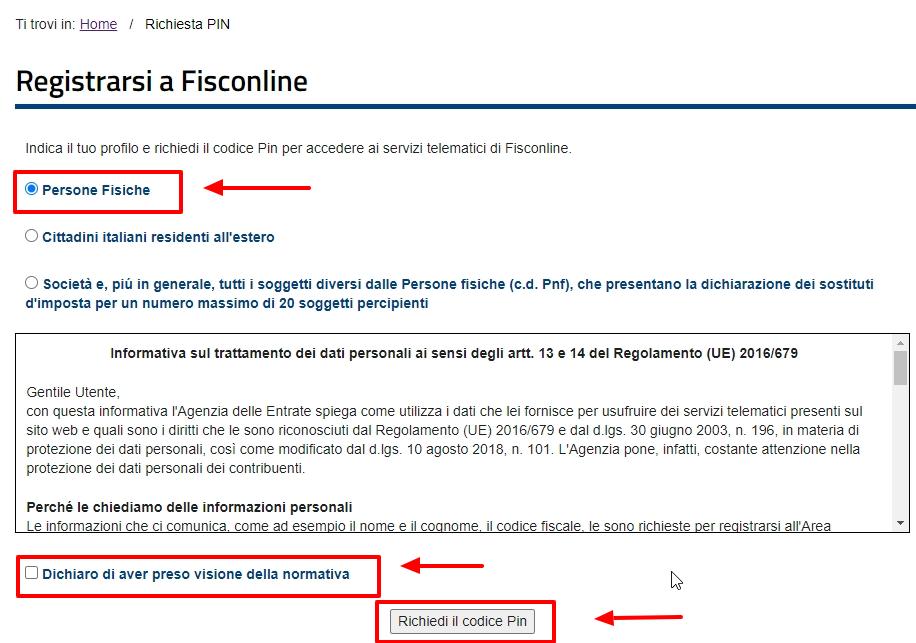 Iscrizione persone fisiche Fisconline