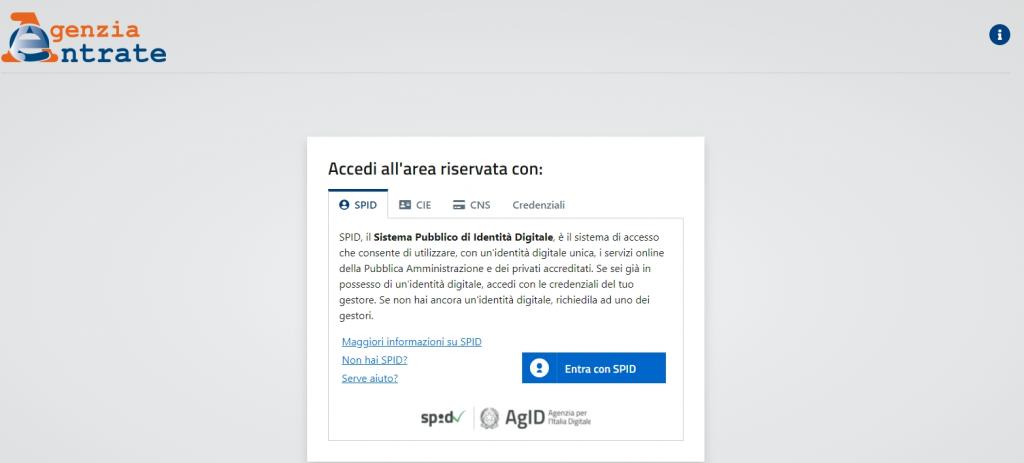 Accesso area riservata Agenzia Entrate per scaricare riepilogo partita Iva