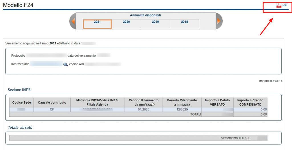 Pdf quientanza di pagamento Agenzia delle Entrate